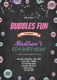 Bubbles fun birthday invitation A6 template