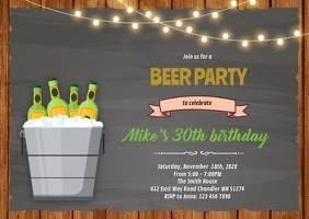 Bucket beer birthday party invitation A6 template