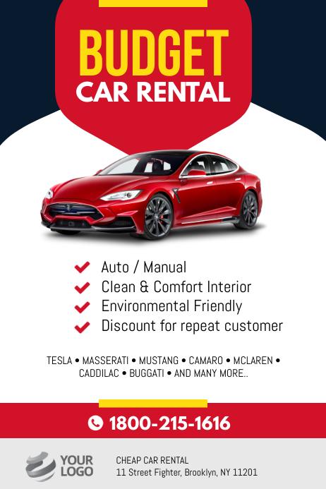 Budget Car Rental Flyer Poster Template Cartaz