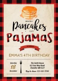 Buffalo plaid pancake pjs party invitation A6 template