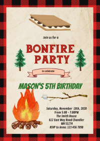 Buffalo plaid s'more party invitation A6 template