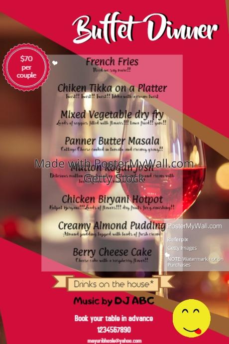 buffet dinner menu template