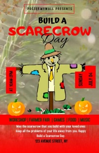Build A Scarecrow Day Flyer Template Half Page Wide
