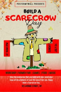 Build A Scarecrow Day Flyer Template Affiche