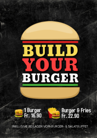 Build your Burger Flyer Offer SPecial Meal Buffet Restaurant