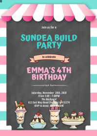 Build your own sundae party INVITATION A6 template