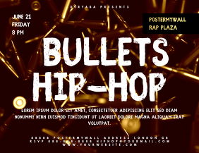Bullets Rap Hip-Hop Landscape Flyer Template