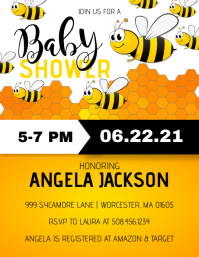 Bumble Bee Baby Shower Invitation Рекламная листовка (US Letter) template