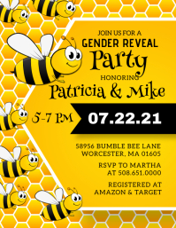 Bumble Bee Gender Reveal Invitation A6 template