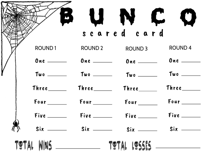photograph about Cute Bunco Score Sheets Printable named Bunco Scorecard - Halloween Template PosterMyWall