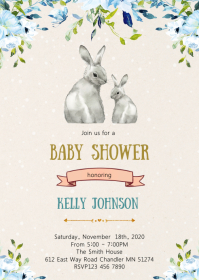 Bunny baby shower party invitation
