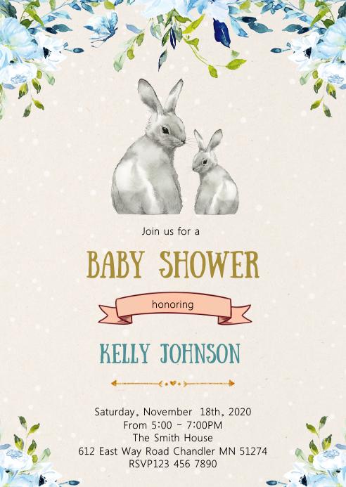 Bunny baby shower party invitation