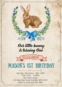 Bunny birthday party invitation