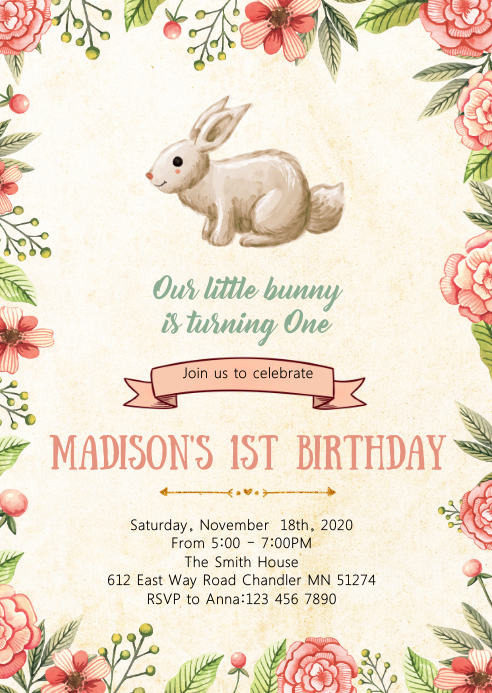 Bunny birthday party invitation A6 template