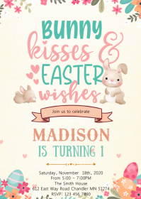 Bunny kisses and easter wishes invitation A6 template