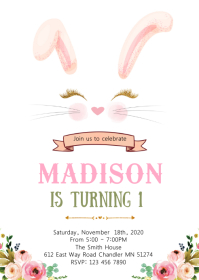 Bunny rabbit birthday invitation