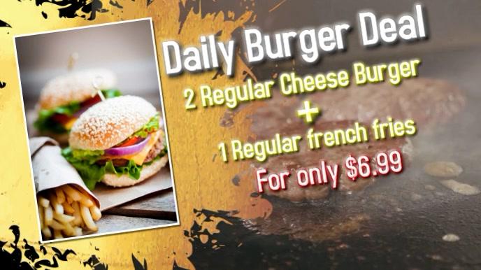 Burger 16:9 video template Ekran reklamowy (16:9)