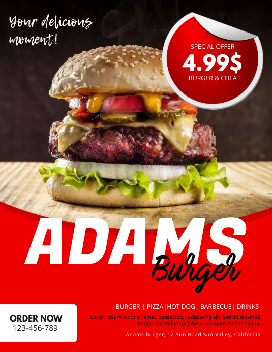 Burger and Cola Flyer Advertising template Løbeseddel (US Letter)