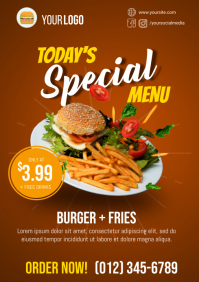 Burger and Fries Special Menu Flyer