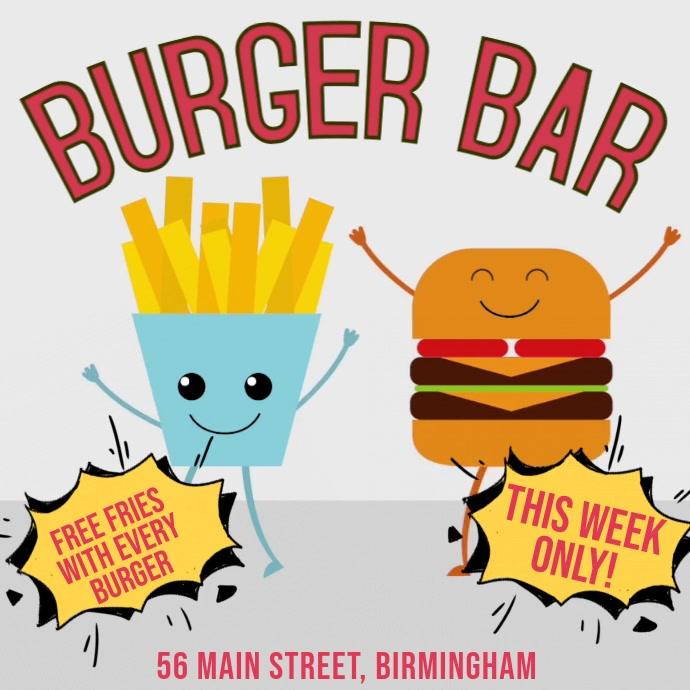 Burger Bar Digital Ad Template Kwadrat (1:1)