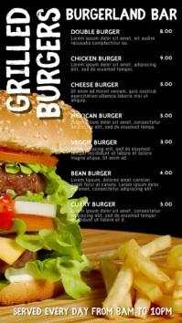 Burger Bar Digital Menu Template Digitalanzeige (9:16)