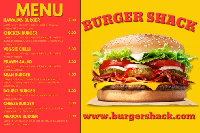 Burger Bar Menu Template