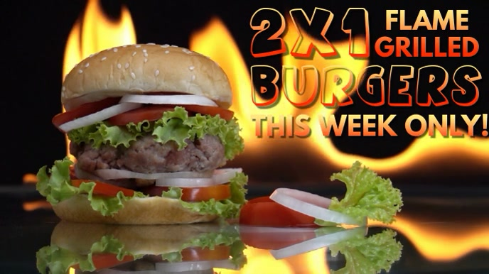Burger Bar Video Ad Template Ekran reklamowy (16:9)