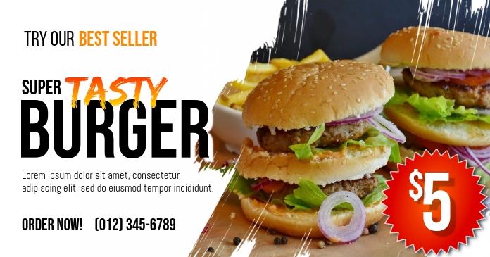 Burger Best Seller Promo Facebook Shared Image template
