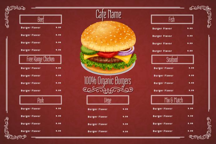 Burger Cafe Menu Customize Template