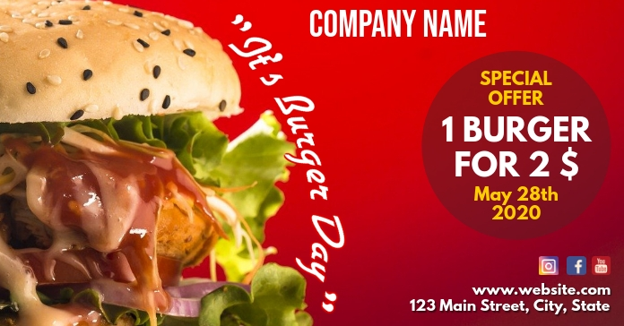 Burger day facebook advertisement Reklama na Facebooka template