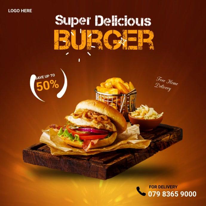 burger Instagram na Post template