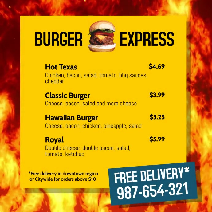 Burger Express Menu delivery square post Instagram Plasing template