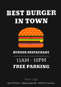 Burger Fast Food Truck Promotion Flyer Times A4 template