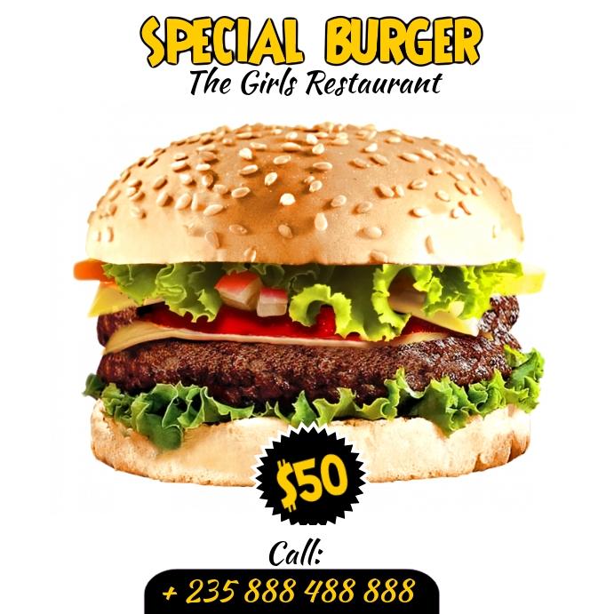 Burger Flyer Template Vierkant (1:1)