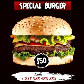 Burger Flyer Template Square (1:1)