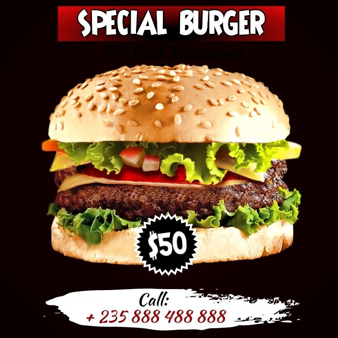 Burger Flyer Template Cuadrado (1:1)