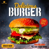 Burger food promotion social media instagram Square (1:1) template
