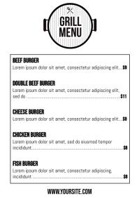 Burger grill menu card a4 printable template