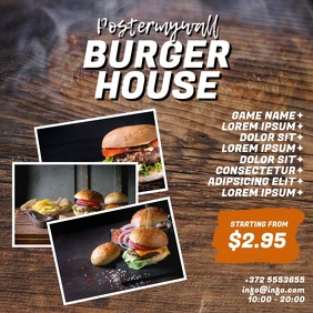 Burger House Video Design Template instagram Quadrado (1:1)