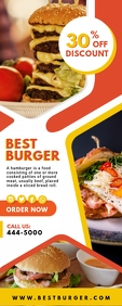 Burger Joint Restaurant Roll up Banner ป้ายโรลอัป 2' × 5' template