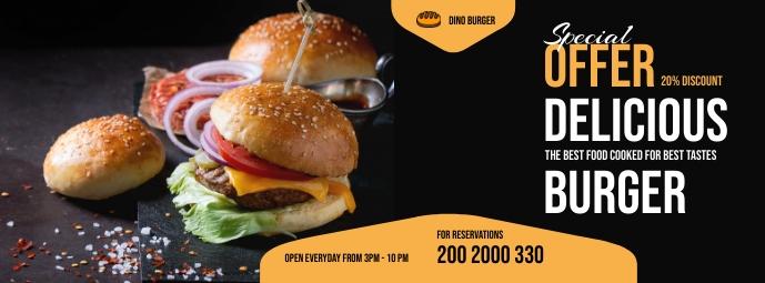 Burger Menu Flyer Facebook-omslagfoto template
