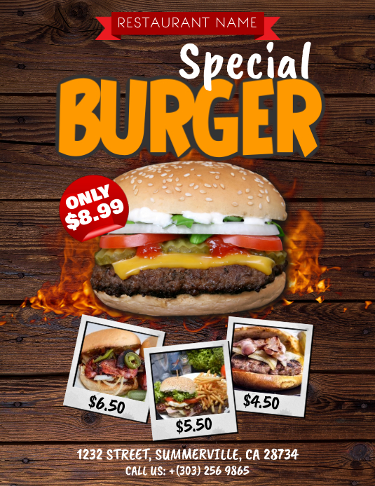 Burger Menu Flyer Pamflet (Letter AS) template
