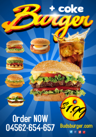 Burger menu Poster A4 template