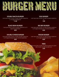 Burger Menu Restaurant Flyer Poster Template