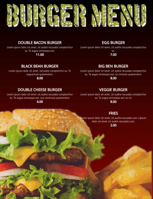 Burger Menu Restaurant Flyer Poster Template