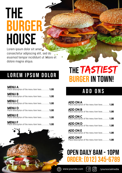 Burger Menu Template A4