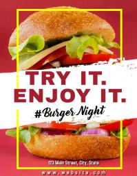 burger night flyer advertisement try it enjoy Volante (Carta US) template