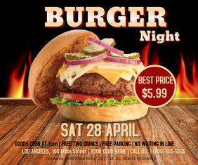 Burger Night Retângulo grande template