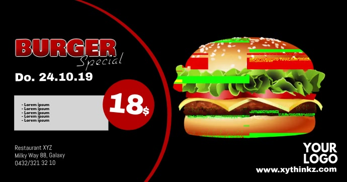 Burger Promotion Video BBQ Special Cover Ad Obraz udostępniany na Facebooku template