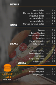 burger restaurant menu Poster template